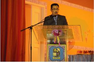Principal giving his speech